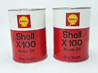 Vintage SHELL X-100 MOTOR OIL Old 1 qt Oil Can ~ Lot of 2 ~ 1 Full and 1 Empty
