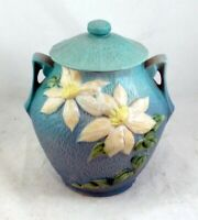Wheel Thrown Roseville Clematis Flower Art Pottery Cookie Jar W Cover 3-8