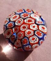 Vintage Glass With Red, White & Blue Cane Millefiori Patriotic Paperweight
