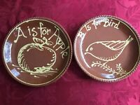 Set of 2 Pair Signed Ken Henderson Redware Slipware A is for Apple B is for Bird