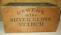 ANTIQUE CA 1880's OSWEGO SILVER GLOSS STARCH WOOD SHIPPING CRATE W/ LID