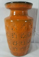 Orange Mid Century West German Scheurich Vase