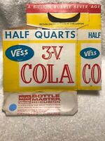 🥤VINTAGE 🥤3V COLA YELLOW Vess SUPER KING SIZE 6 PACK BOTTLE CARRIER CARTON