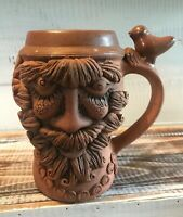 Bearded Old Man LARGE Face Mug Hand-Thrown Art  Clay Pottery Whimsical Bird