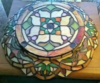 Vintage Stained Glass Shallow Bowl Plate Colorful Beautiful Flowers Ruffle Edge