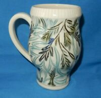 Hand Thrown Decorated Green Off White 5 1/2