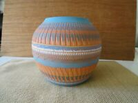 Signed Bernice Watchman Navajo Art Terracotta Etched Large Pottery Vase .