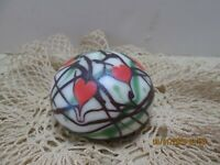Orient & Flume Iridescent Vines And Hearts Art Glass Paperweight - Rare SIGNED