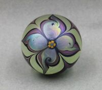 Orient and Flume Iridescent Feather Flower Paperweight Studio Art Glass 1978
