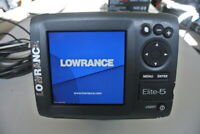 Lowrance Elite-5 Fish Finder w/ Transducer & Mount & Cover - Preowned