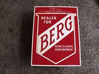 Vintage Berg Barn Cleaners Dealer Equipment Farm Sign Wisconsin Dairy Cows