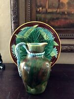 MAJOLICA GEORGE JONES SMALL MOTTLED PITCHER W/ TURQUOISE HANDLE -  NO RESERVE!