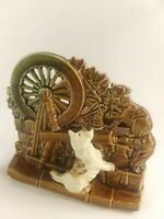 Vintage 1950's McCoy Planter Spinning Wheel w/ Scottie Dog & Cat USA Pottery