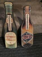 LIMITED EDITION 1980S DR PEPPER REPRODUCTION WOODEN BOTTLE SHAPED THERMOMETER
