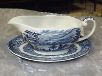 STAFFORDSHIRE Liberty Blue Historic Colonial Scenes Gravy Boat with Under Plate