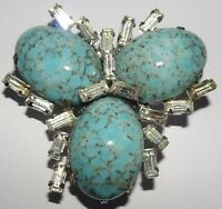 Vintage Schreiner of New York Mottled Turquoise & Clear Rhinestone Pin