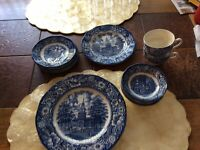 Rare Americana Liberty Blue Plates. Betsy Ross, Paul Revere,independence Hall