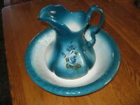 Antique Vtg Ironstone Pottery Pitcher & Basin Bowl  Floral Turquoise Blue Roses