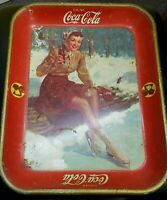 VINTAGE 1941 COCA COLA TRAY FEMALE SKATER AMERICAN ART WORKS INC authentic!