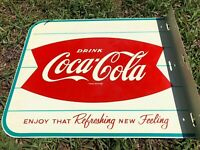 Vintage Original Coca Cola Fishtail Flange Sign AM42 *MINT*