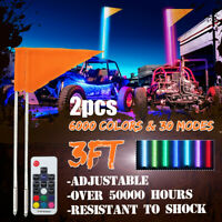 2X 3ft LED RGB Lighted Antenna Whip Light w/Flag for ATV Polaris RZR 4 Wheeler