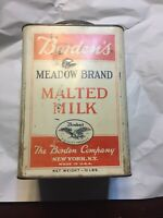 Bordens Meadow Brand Malted Milk Can 10lbs With Eagle Logo