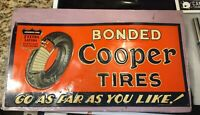 ORIGINAL VINTAGE 1930 40s COOPER TIRES METAL ADVERTISING SIGN GAS OIL