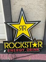 RockStar Energy Drink LED Light Up Hanging Advertising Sign Man Cave 28.5 X 30