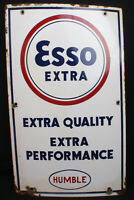Esso Extra and Rare Humble Oil Company Gas Pump Porcelain Transition Period Sign