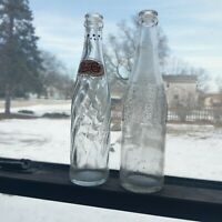 2 Antique Pepsi Glass Bottles-9 Dots on Neck Red White Clear Cola 10 oz.