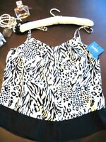 NWT By amp; By Black amp; White Exotic Tiger amp; Leopard Print Boho Cami Top Juniors Lg $14.99