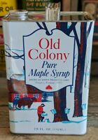 ANTIQUE OLD COLONY MAPLE SYRUP TIN LITHO CAN VINTAGE 1 GALLON NEWPORT VERMONT