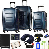 Samsonite Winfield 2 Hardside 3pc Spinner Set Deep Blue w 10pc Accessory Kit