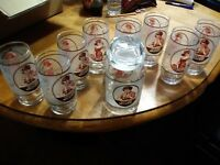 Vintage Pepsi Cola  lot Gibson Girl Glass Container Jar With Lid and 8 glasses