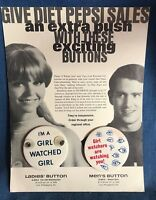 Vintage Pepsi Cola Soda I'm A Girl Watched Watcher Pin Button Lenticular Display