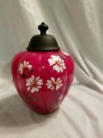 Fenton Ginger jar red w white flowers 10#x27;#x27;tall excellent condition