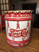 ANTIQUE PEPSI COLA SODA SYRUP DRUM LID CAN HOLDER TIN METAL SIGN Movie Prop 😍