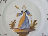 PAIR VINTAGE FRENCH FAIENCE TIN GLAZE POTTERY PLATES, FLAX SPINNER, WOODCUTTER