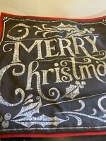 Pottery Barn MERRY CHRISTMAS Gray Red Trim  Holiday Pillow Cover 20
