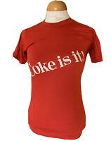 Vintage 80s Coke Is It! Coca-Cola Promo Red T-Shirt Womens Small Top Thin Fabric