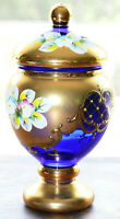 Antique Vintage Painted Czech Bohemian Murano Blue Floral Art Glass Gold Vase