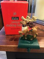 New Rare EDDIE BAUER Cast Iron Christmas Stocking Holder, REINDEER