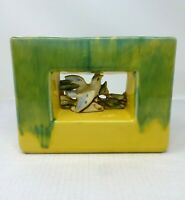 Vintage 1950s Antique McCoy Arcature Bird Vase Planter Double Sided Green Yellow