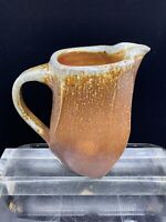 """VINTAGE STONEWARE PITCHER 1970s TEXTURED SURFACE FLUTED SHAPE 7-3/4"""" SIGNED"""
