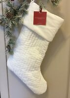 Pottery Barn Ivory Large Channel Quilted Velvet Christmas Stocking  22