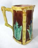 ANTIQUE ENGLISH MAJOLICA CATTAILS & FERNS PITCHER