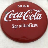 "VINTAGE 1950's Coke Button 24"" Porcelain Drink Coca Cola Sign of Good Taste RARE"