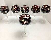 6 Bohemian Crystal Cut To Clear Ruby Red Wine Hock Glass Goblet