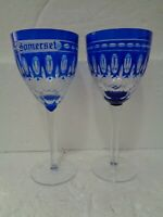 Bohemian Crystal Cobalt Blue SOMERSET Wine Glass and ONE CORDIAL