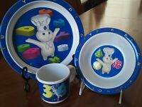 MINT ☆ Pillsbury Doughboy 3 pc. Child's dish set plate bowl cup 2000